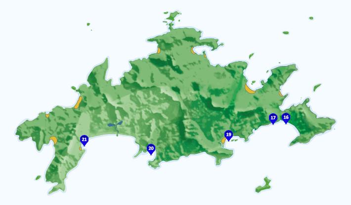 Mapa dos pontos de surf na Ilha Grande - RJ