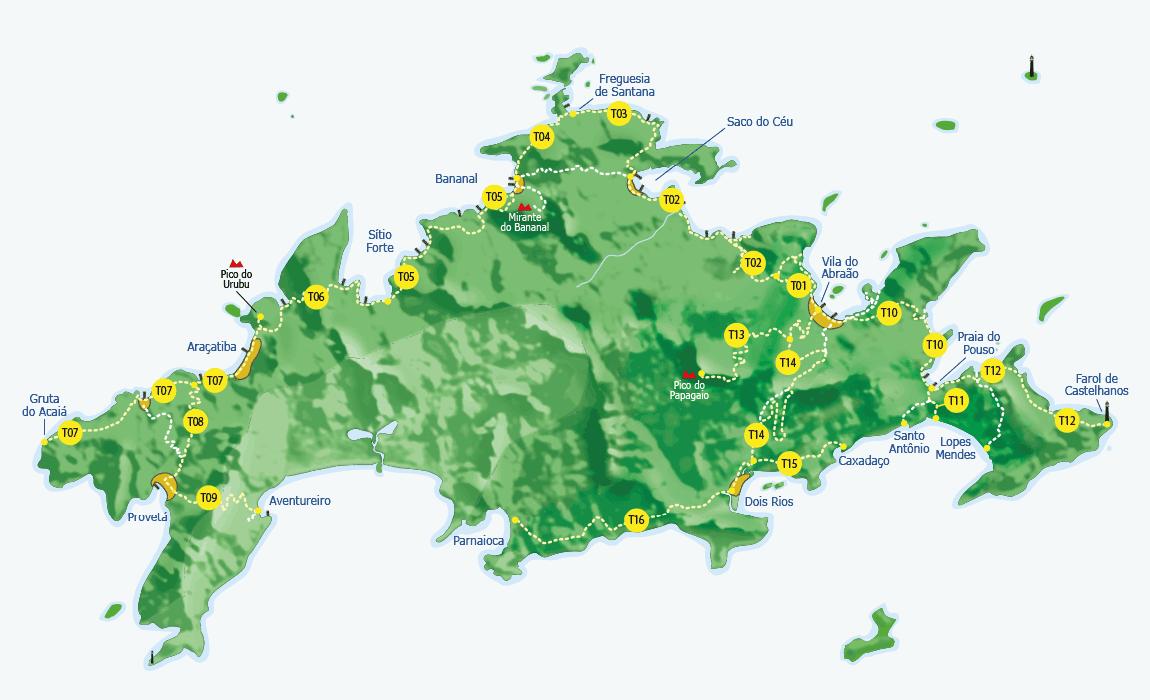 Mapa das trilhas da Ilha Grande.