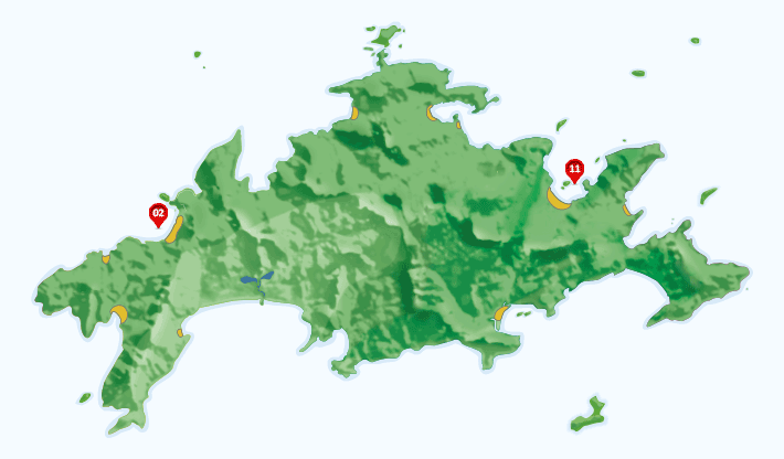 Mapa dos campings na Ilha Grande