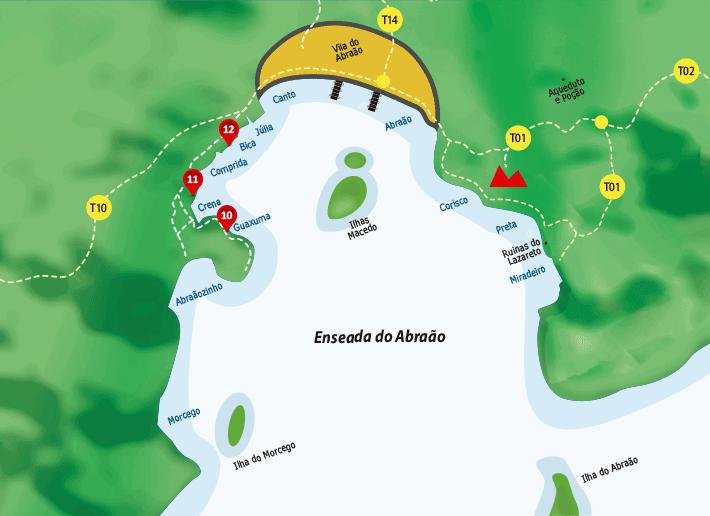 Mapa pousadas na Enseada do Abraão - Ilha Grande RJ
