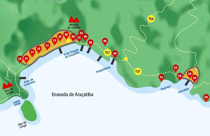 Mapa de hospedagens, acomodações, pousadas na Enseada de Araçatiba - Ilha Grande - RJ.