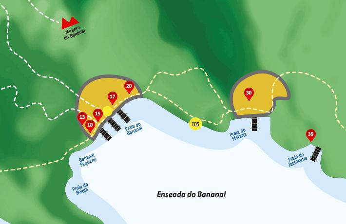 Mapa de hospedagens, acomodações, pousadas na enseada do Bananal - Ilha Grande - RJ.