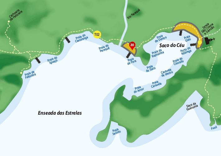 Mapa de hospedagens, casas na Enseada das Estrelas.