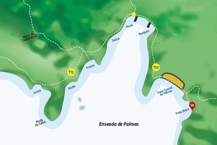 Mapa de hospedagens, acomodações, pousadas na enseada de Palmas - Ilha Grande - RJ.