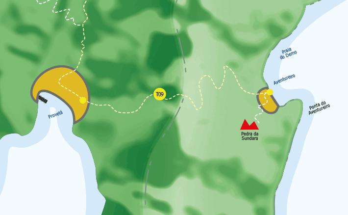 Mapa de Provetá e aventureiro na Ilha Grande.