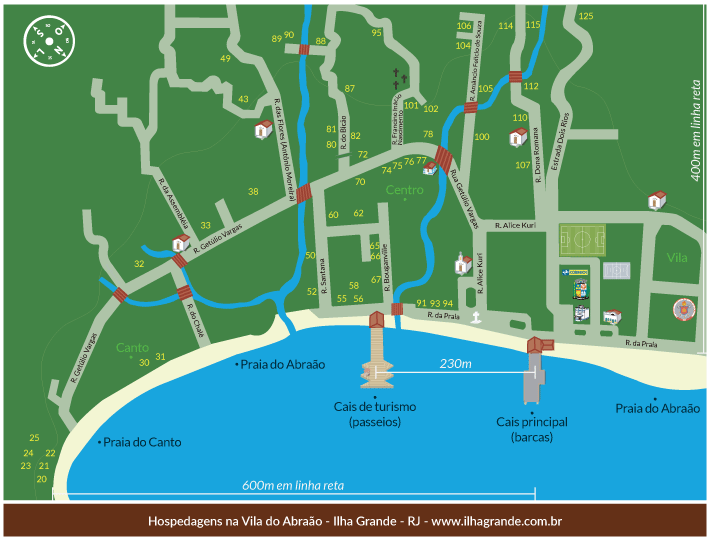 Mapa pousadas na Vila do Abraão - Ilha Grande - RJ