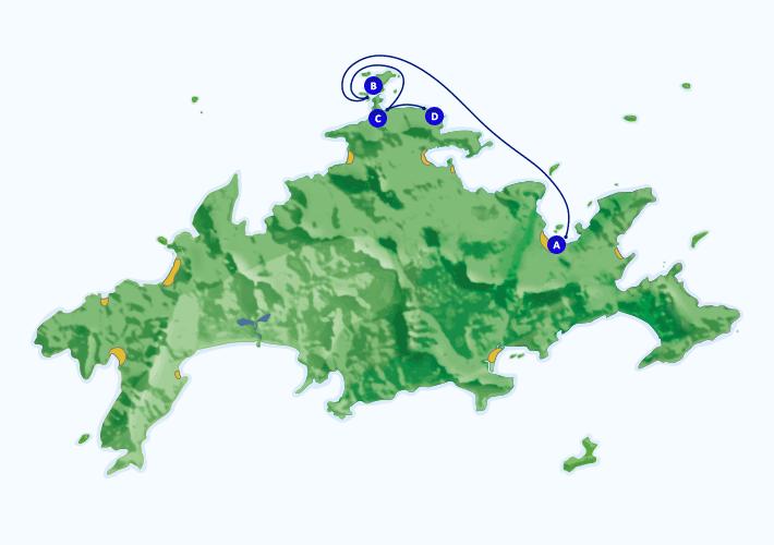 Mapa com roteiro de passeio náutico para a Lagoa Azul partindo de Abraão.
