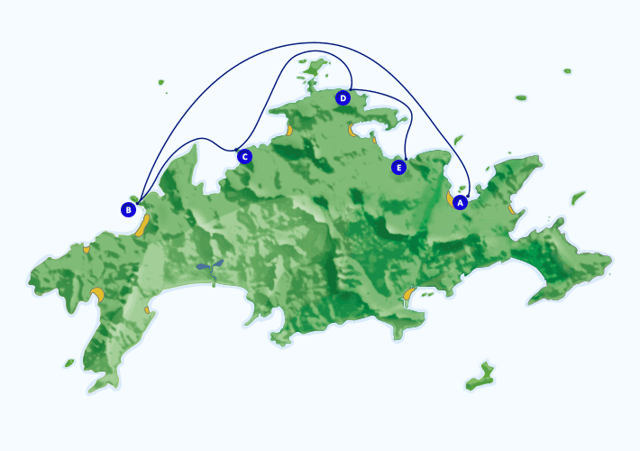 Mapa com roteiro de passeio marítimo para a Lagoa Verde partindo de Abraão.