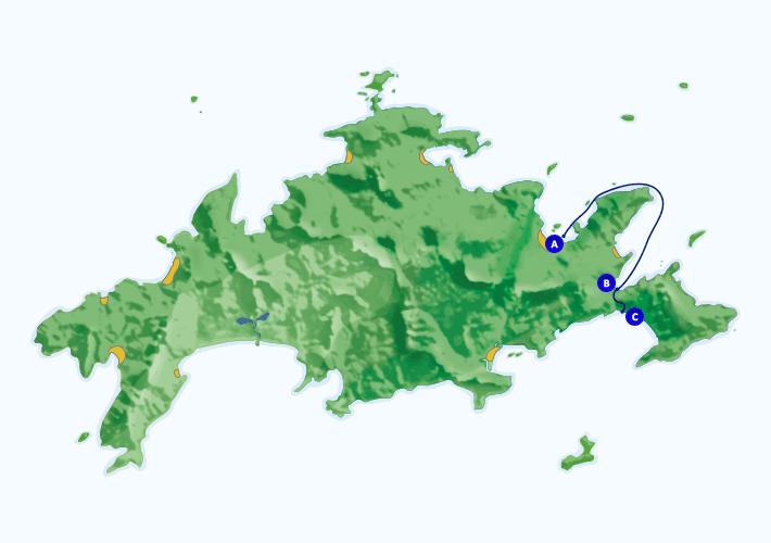 Mapa com roteiro de passeio marítimo para Lopes Mendes partindo de Abraão.