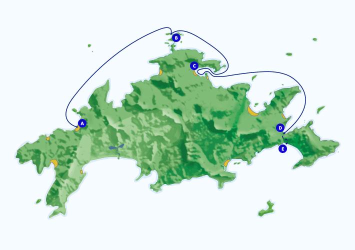 Mapa com roteiro de passeio marítimo para para Lagoa Azul, Saco do Céu e Lopes Mendes, partindo de Araçatiba e praia Vermelha.