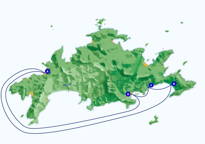 Mapa com roteiro de passeio marítimo para as praias de Parnaioca, caxadaço, Dois Rios, partindo de Angra, Araçatiba e praia Vermelha