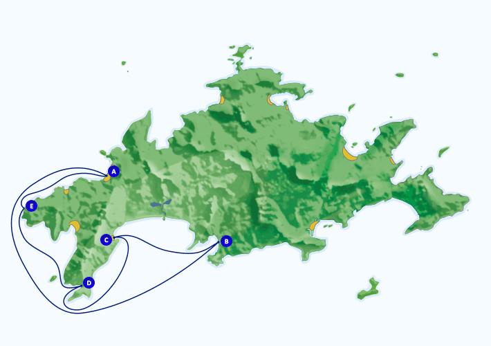 Mapa com roteiro de passeio marítimo para Parnaioca, Aventureiro, Meros e Grutá do Acaiá, partindo de Araçatiba.
