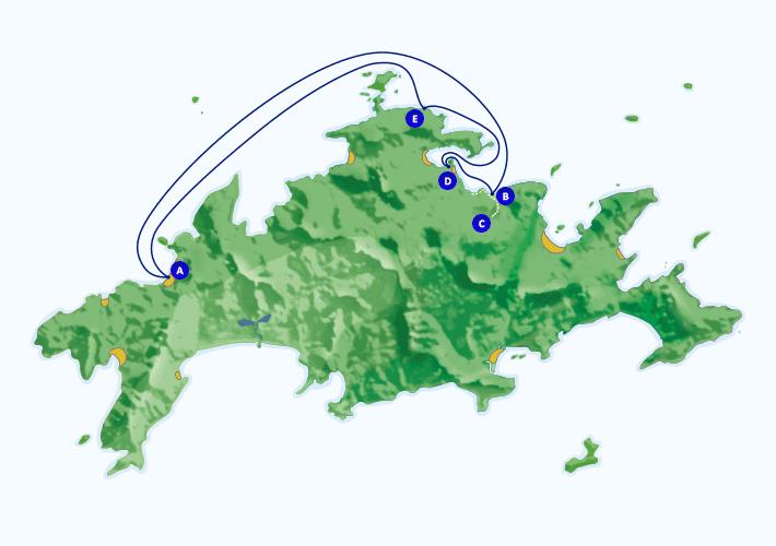 Mapa com roteiro de passeio marítimo para Cachoeira da Feiticeira, Enseada das Estrelas e Saco do Céu, partindo de Araçatiba.