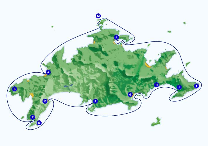 Mapa com roteiro de passeio de lancha dando a volta a Ilha Grande, partindo de Araçatiba.