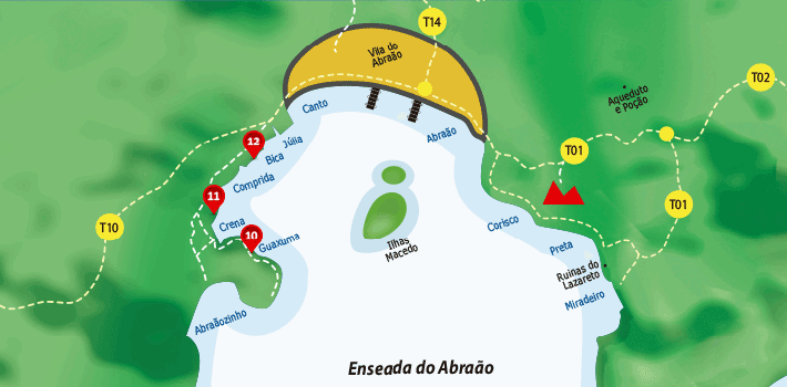 Mapa da praias da enseada do Abraão - Ilha Grande - RJ