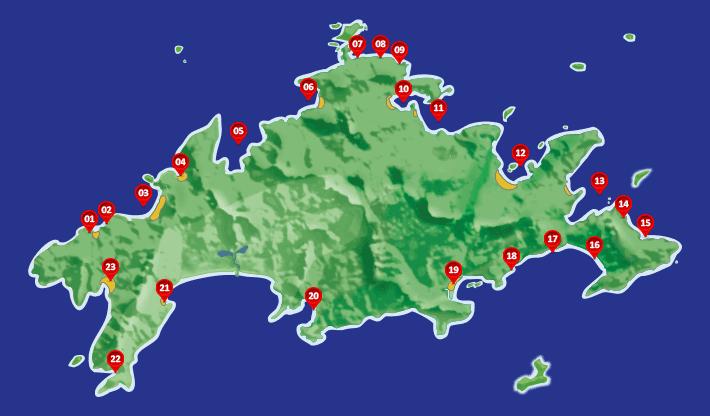 Mapa das praias da Ilha Grande