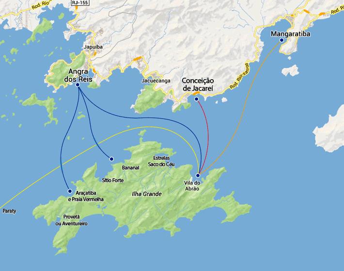 Mapa das rotas marítimas para Ilha Grande - RJ.