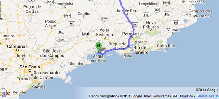 Mapa estradas, MG - Mangaratiba, Jacarei, Angra.