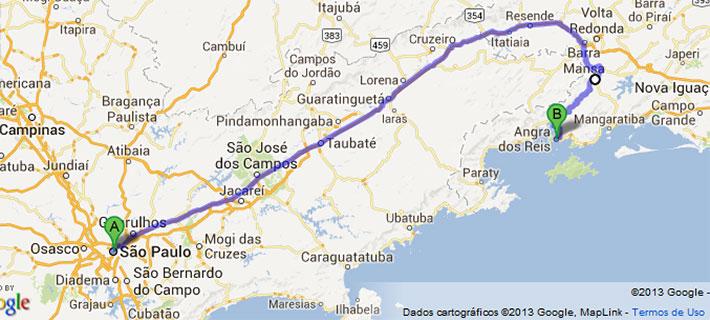 Mapa estradas, SP -Angra.