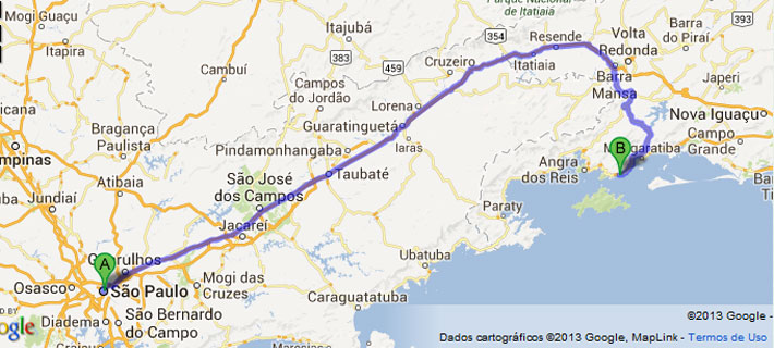 Mapa estradas, SP - Mangaratiba, Jacarei