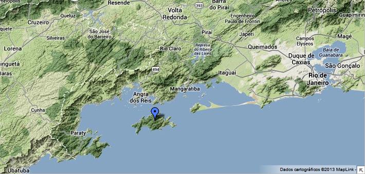 Mapa de localização da Ilha Grande