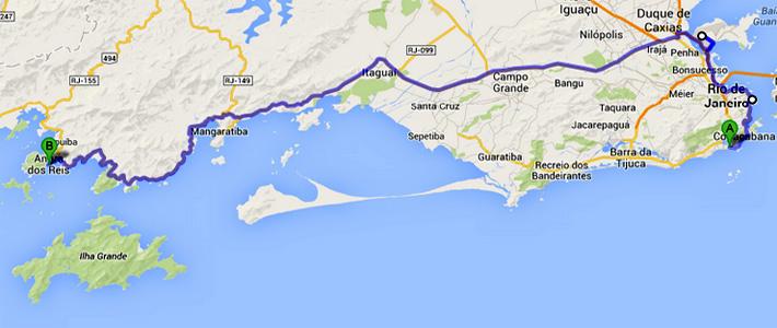 Mapa roteiro transfer de Van Rio - Mangaratiba - Conceição de Jacareí - Angra dos Reis.