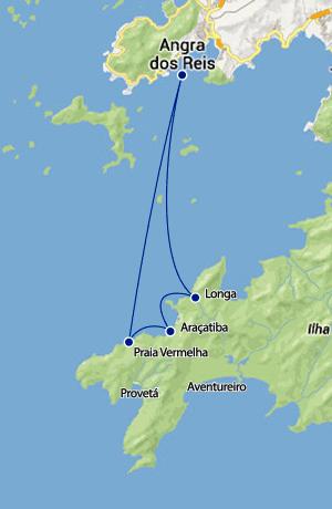 Mapa rotas maritimas entre Angra dos Reis, Araçatiba e praia Vermelha.