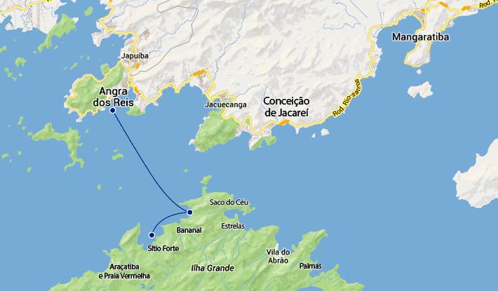Mapa rotas marítimas entre Angra dos Reis, Bananal e Sítio Forte.