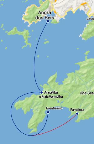 Mapa rota maritima para Aventureiro e Parnaioca.