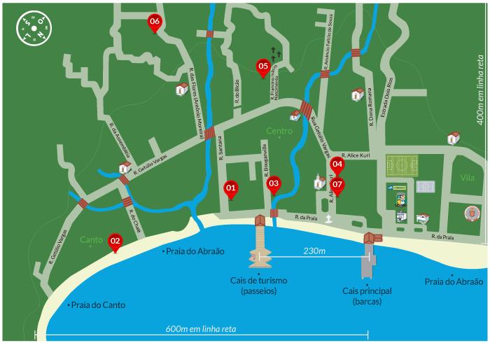 Agência Lanchas Ilha Grande | Mapa de localização na Vila do Abraão