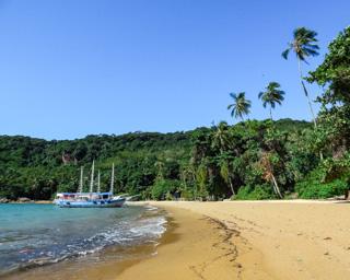 Faixa de areia moderada e muito verde na Praia do Pouso