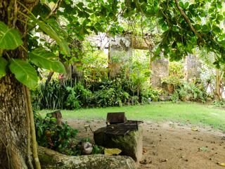 Ao lado da casa existe um lindo jardim em meio as ruínas
